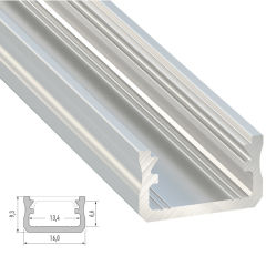 Profil AluminiumType A -Brut -2,02M  - Finition Argent Anodisé