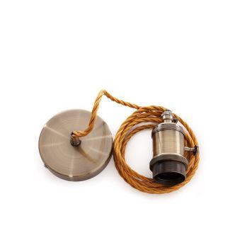 Pendel E27Câble 2000Mm Trenzado Whisky 3X0,75 Soutien De Lampe - Commutateur Rotatif - Rosette