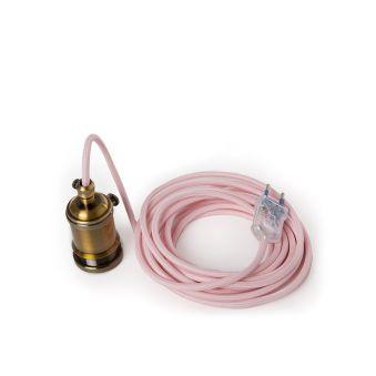 Pendel E27Câble 5000MmRouge 3 X 0,75 Soutien De Lampe Commutateur RotatifLaiton -Prise De Courant