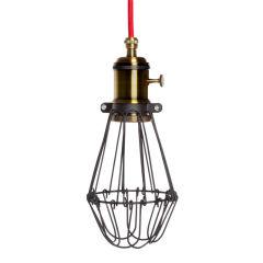 Lampe SuspendueNoir-Rojo Soutien De Lampe E27Câble 5M Commutateur Rotatif Sawyer