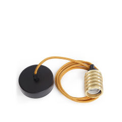 Pendel 2M -CâbleOr - Soutien De Lampe E27Or - RosetteNoir 100Mm