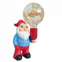 """Gnome Céramique Terminer Couleur Bleu/Rouge Avec Ampoule LED G125 """"Amore"""""""