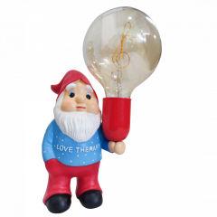 """Gnome Céramique Terminer Couleur Bleu/Rouge Avec Ampoule LED G125 """"Clave de  Sol"""""""