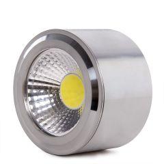 LED Downlight Pour Montage En Surface COB Rond Nickel Satin Ø68Mm 5W 450Lm 30.000H  - Couleur Blanc froid