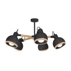 """Lampe Suspendue """"Oval""""  5xE27 Métal +Bois Sans Ampoule [MLP-8663]"""