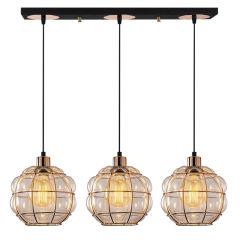 """Lampe Suspendue """"Safderun"""" Cuivre 3 x E 27 Sans Ampoule [OPV-521SHN3322]"""