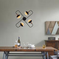 """Lampe Suspendue """"An?""""Noir 4 x E 27 Sans Ampoule [OPV-525NOR1182]"""
