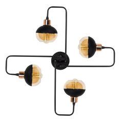 """Lampe Suspendue """"An?""""Noir/Cuivre 4 x E 27 Sans Ampoule [OPV-525NOR1183]"""