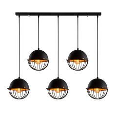 """Lampe Suspendue """"Sivani""""Noir/Or 5 x E 27 Sans Ampoule [OPV-527ABY1743]"""