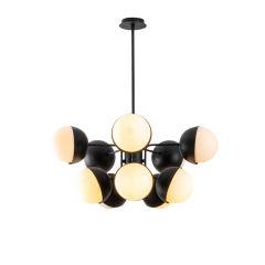 """Lampe à suspension """"Linfen"""" [OPV-584TTM1286]  - Finition Noir Blanc"""