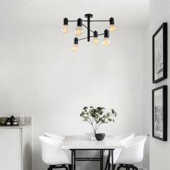 """Lampe Suspendue """"Hexa""""Noir 6 x E 27 Sans Ampoule [OPV-892OPV1770]"""