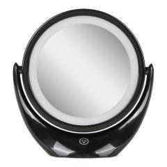 Miroir de Maquillage Illuminé  Ø14,2Cm Rechargeable-AjusTableNoir