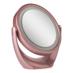 Miroir de Maquillage Illuminé  Ø14,2Cm Rechargeable-AjusTableRose
