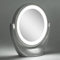 Miroir de Maquillage Illuminé  Ø14,2Cm Rechargeable-AjusTableBlanc