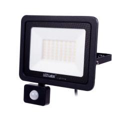 Projecteur LED IP44 Noir avec Détecteur de Mouvement 50W 4250Lm Blanc Naturel