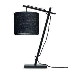 """Lampe de Table """"Andes"""" Bambou-Abat-Jour Noir-Lin Foncé 46Cm 1xE14 Sans Ampoule [GM-ANDES / T / B / 1815 / LD]"""