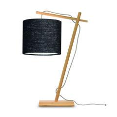 """Lampe de Table """"Andes"""" Bambou-Abat-jour Naturel-Gris Foncé 46Cm 1xE14 Sans Ampoule [GM-ANDES / T / N / 1815 / DG]"""