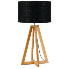 [G-M-EVEREST/T/3220/B] Lampe De Table Bambou 4-Jambes Everest 59cm/32x20cm  - Abat jour - Lin Bleu Denim