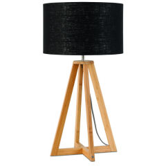 [G-M-EVEREST/T/3220/B] Lampe De Table Bambou 4-Jambes Everest 59cm/32x20cm  - Abat jour - Lin Blanc
