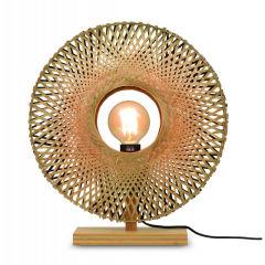 """Lampe de Table """"Kalimantan"""" Bambou-Abat-jour Naturel-Noir / Naturel Ø44Cm 1xE27 Sans Ampoule [GM-KALIMANTAN / T / N / 4412 / BN]"""