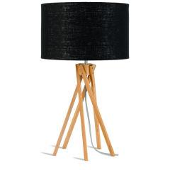 [G-M-KILIMANJARO/T/3220/B] Lampe De Table Bambou 5-Jambes Kilimanjaro 59cm/Abat Jour 32x20cm  - Abat jour - Lin Gris Clair