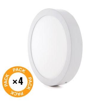 Pack 4 Plafonnier LED Monté En Surface Ø169Mm 12W 930Lm 30.000H  - Couleur Blanc Neutre