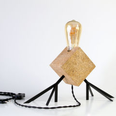 "Lampe DeTable  ""Agaphanto E.T."" Liège/BoisNoir E27  [HRD-AGAPHANTO-B]"