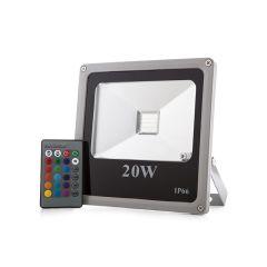 Projecteur LED IP65  20W RGB Télécommande  - Couleur RVB