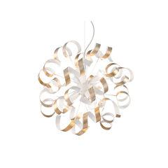 """Lampe À Suspension """"Vortex"""" [I-L-101606]  - Finition Blanc / Argent"""