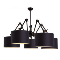 "Suspension ""Amsterdam"" Iron-Black Shade-Light Linen 120Cm Ajustable 1xE27 Sans Ampoule [IAR-AMSTERDAM / H5 / B / 3220 / LL]"