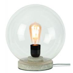 [IAR-WARSAW/T30/LG] Lampe De Table Verre/Ciment Warsaw Ø32cm Transparent  - Abat jour - Gris Clair